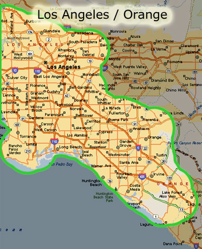 Map Of Los Angeles County And Orange County  You Can See